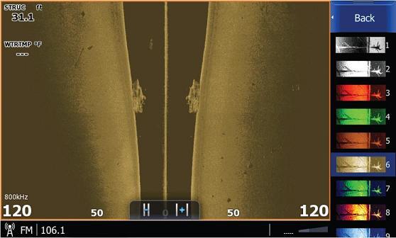 Визуализация по правую и левую сторону борта, совместно с технологией DownScan Imaging, позволяет рассмотреть затонувшее судно и косяк мелкой рыбы.