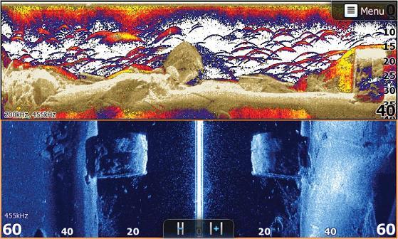 На экране эхолота отображен результат совместной работы Broadband Sounder/DownScan (вверху) и структурированный снимок сканера StructureScan (внизу).