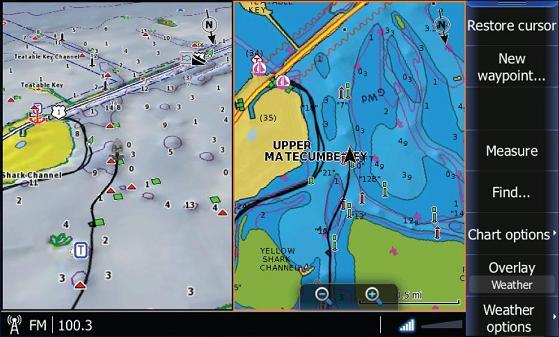 Двойной просмотр Dual-Chart Viewing встроенной карты Insight USA™ (слева) и Navionics® Platinum+ (справа).