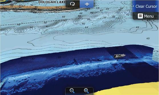 На раздвоенном дисплее карта в 3D формате с наложением скана StructureMap.
